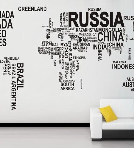 World Map Wall Decal Australia